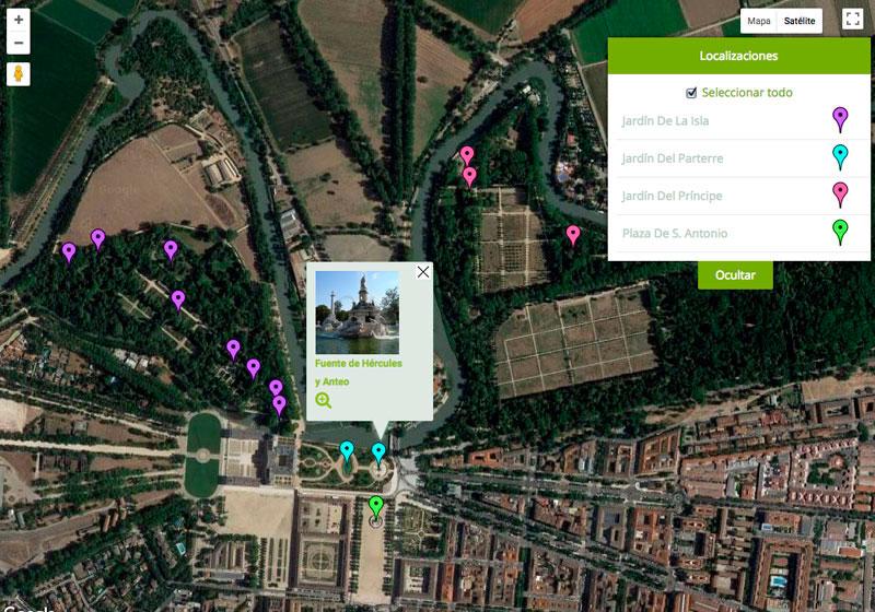 Mapa fuentes de Aranjuez
